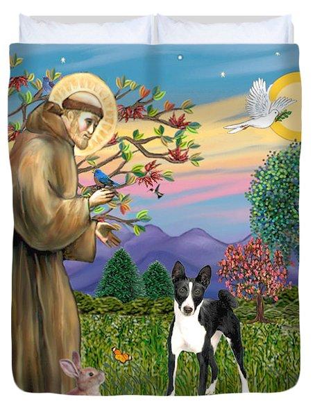 Saint Francis Blesses A Black And White Basenji Duvet Cover