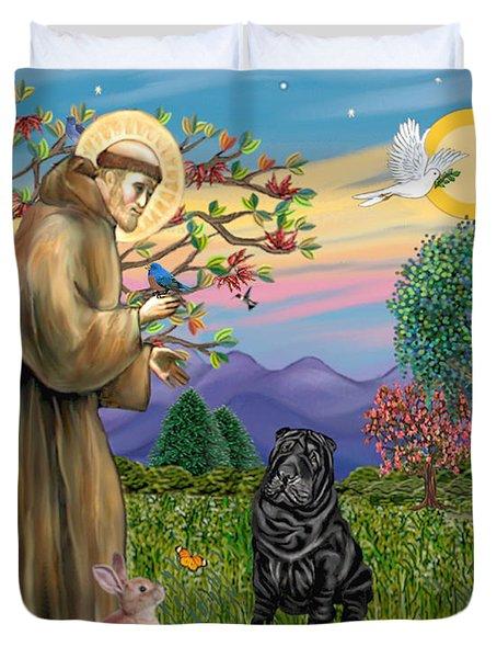 Saint Francis Blesses A Black Chinese Shar Pei Duvet Cover