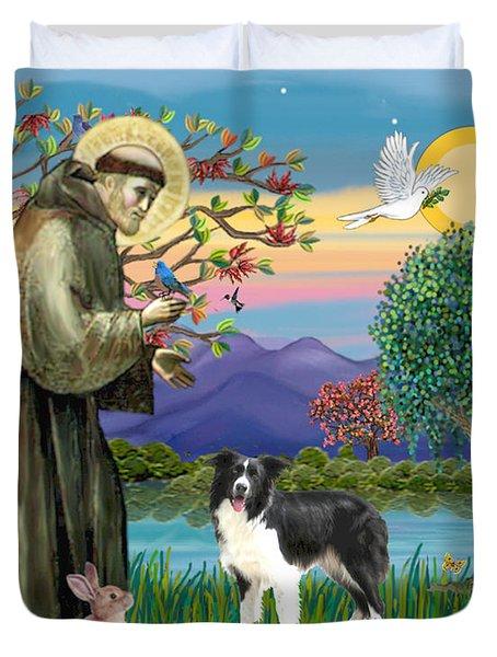 Saint Francis Blesses A Border Collie Duvet Cover