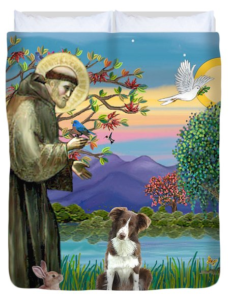 Saint Francis Blesses A Brown And White Border Collie Duvet Cover