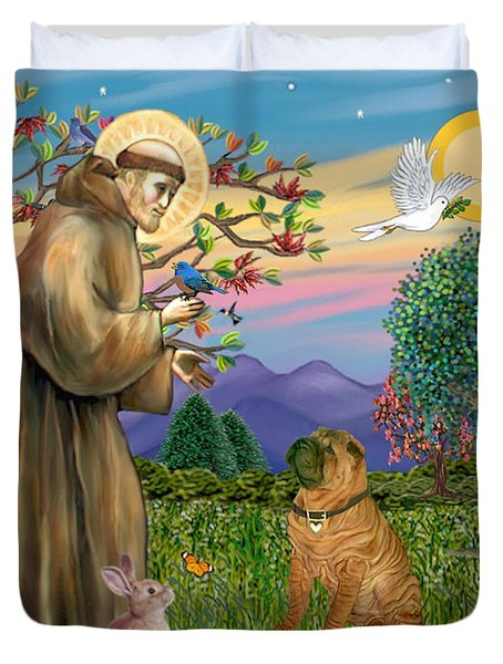 Saint Francis Blesses A Chinese Shar Pei Duvet Cover