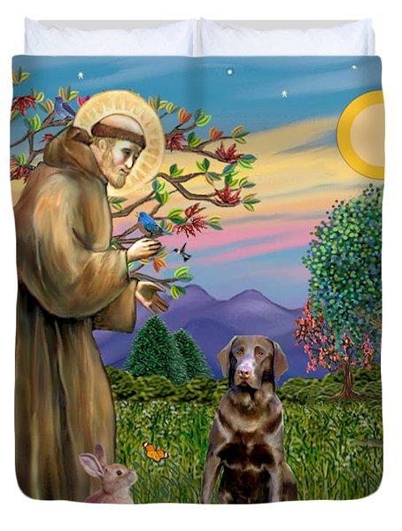 Saint Francis Blesses A Chocolate Labrador Retriever Duvet Cover