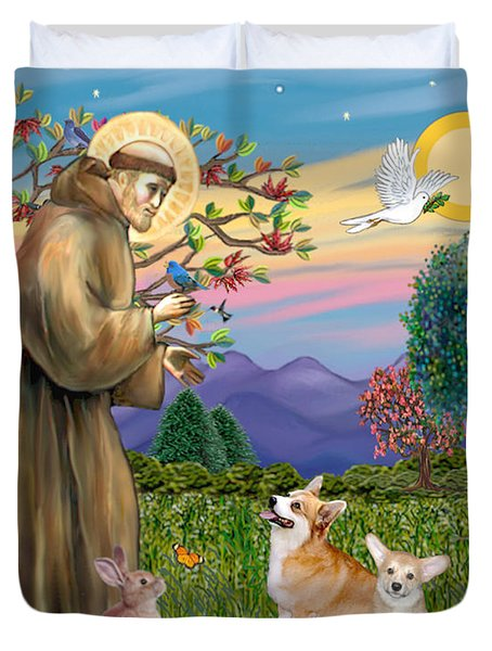 Saint Francis Blesses A Corgi And Her Pup Duvet Cover