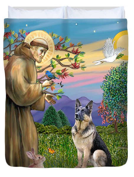Saint Francis Blesses A German Shepherd Duvet Cover