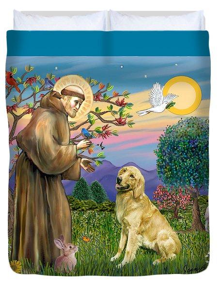 Saint Francis Blesses A Golden Retriever Duvet Cover