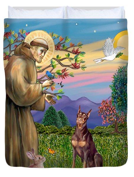 Saint Francis Blesses A Red Doberman Duvet Cover