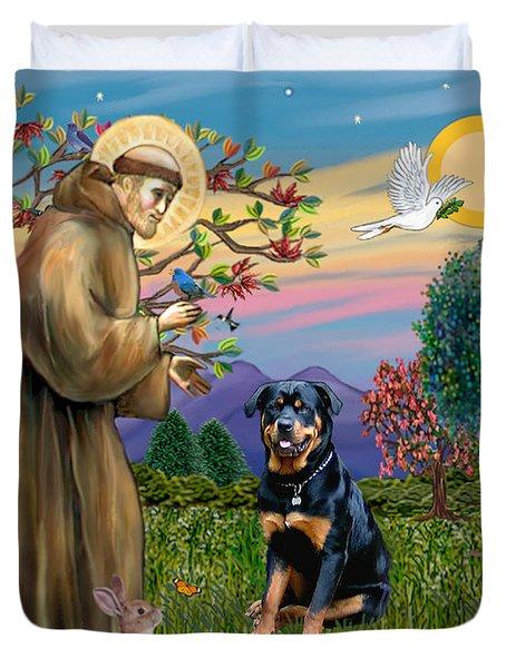 Saint Francis Blesses A Rottweiler Duvet Cover