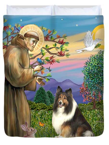 Saint Francis Blesses A Sable And White Collie Duvet Cover