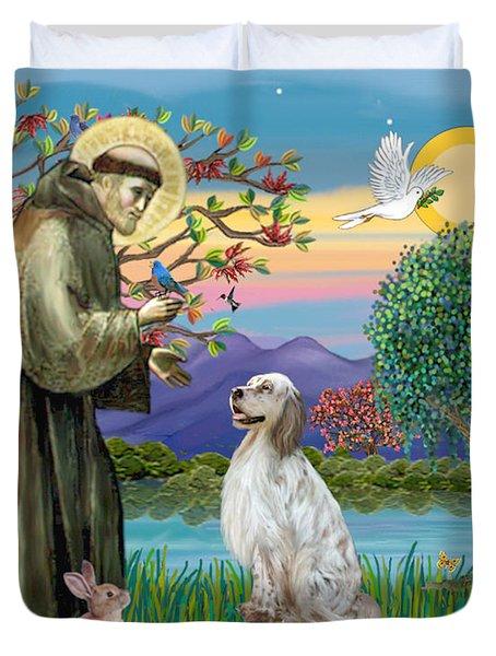Saint Francis Blesses An English Setter Duvet Cover