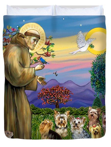 Saint Francis Blesses Seven Yorkies Duvet Cover