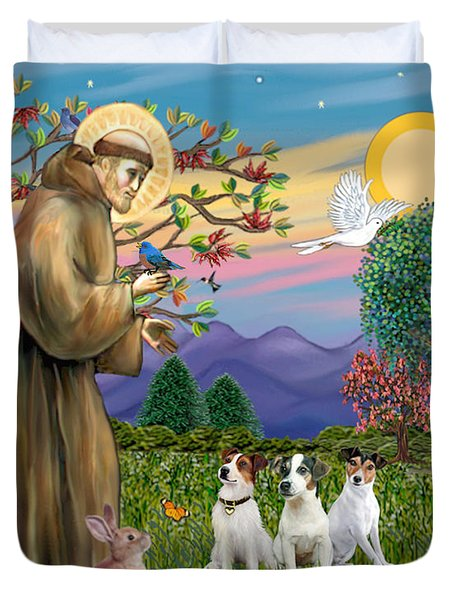 Saint Francis Blesses Three Jack Russell Terriers Duvet Cover