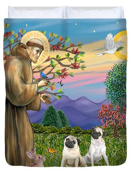 Saint Francis Blesses Two Fawn Pugs Duvet Cover