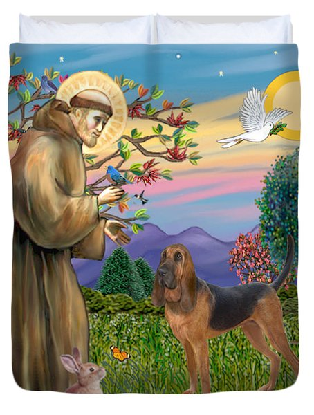 Saint Francis Blessing A Bloodhound Duvet Cover
