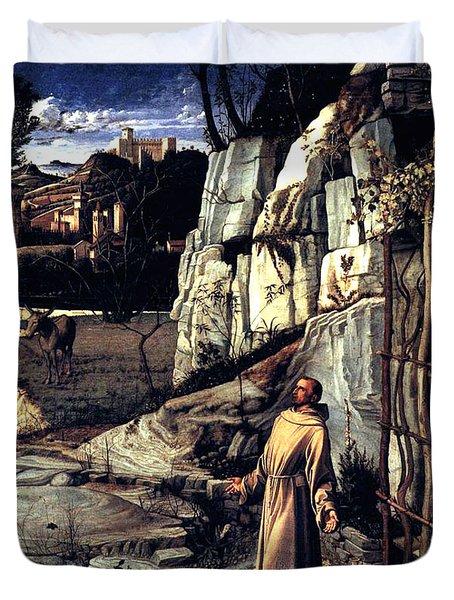Saint Francis In Ecstasy 1485 Giovanni Bellini Duvet Cover by Karon Melillo DeVega