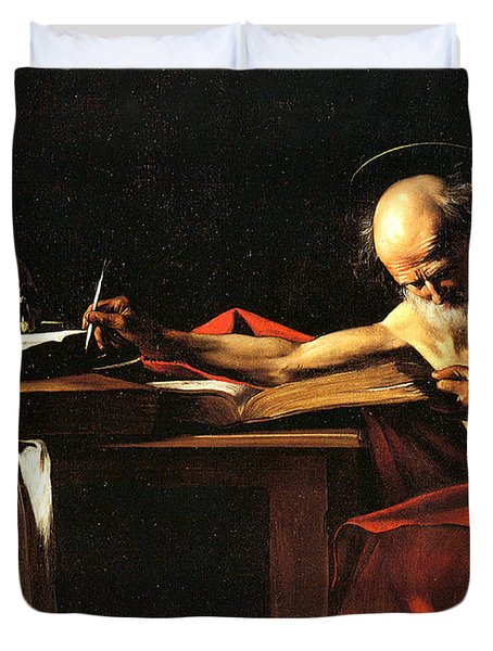 Saint Jerome Writing Duvet Cover by Caravaggio