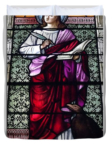 Saint John The Evangelist Stained Glass Window Duvet Cover by Rose Santuci-Sofranko