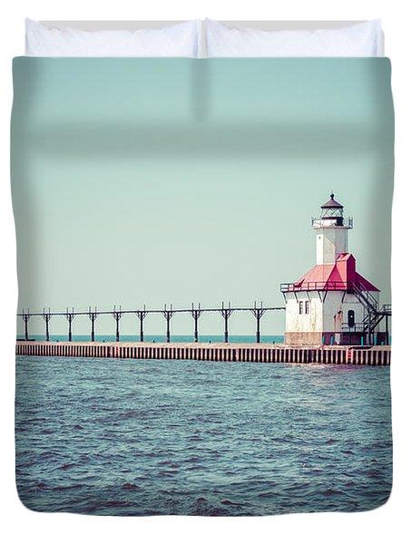 Saint Joseph Michigan Lighthouse Retro Picture  Duvet Cover by Paul Velgos