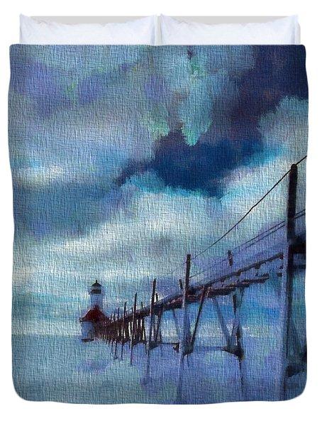 Saint Joseph Pier Lighthouse In Winter Duvet Cover by Dan Sproul