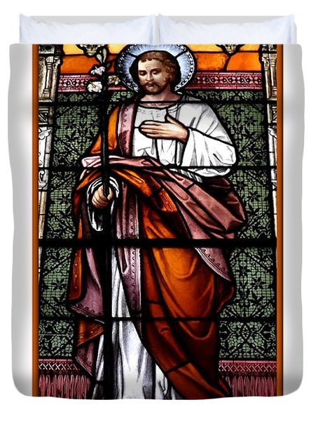 Saint Joseph  Stained Glass Window Duvet Cover