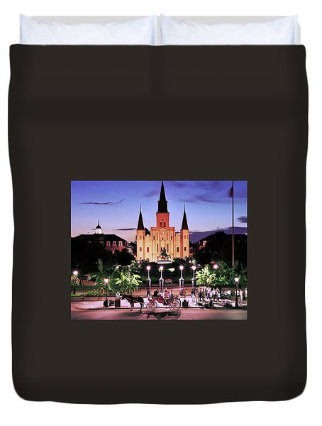 Saint Louis Cathedral New Orleans Duvet Cover by Allen Beatty