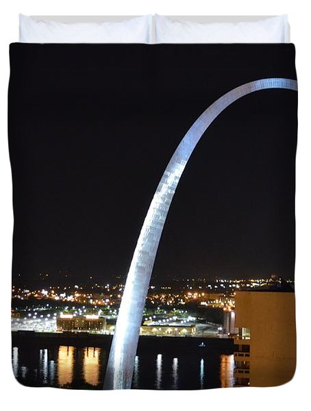 Duvet Cover featuring the photograph Saint Louis Skyline And Jefferson Expansion Arch by Jeff at JSJ Photography