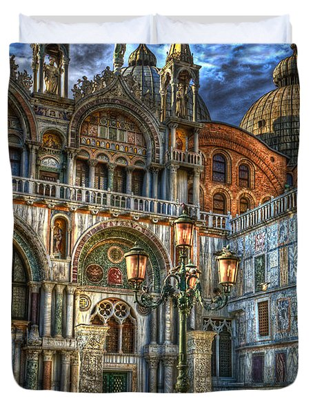 Duvet Cover featuring the photograph Saint Marks Square by Jerry Fornarotto