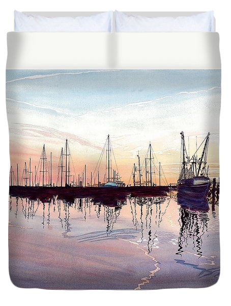 Saint Marys Marina   Shadows Light And Fire Duvet Cover by Joel Deutsch