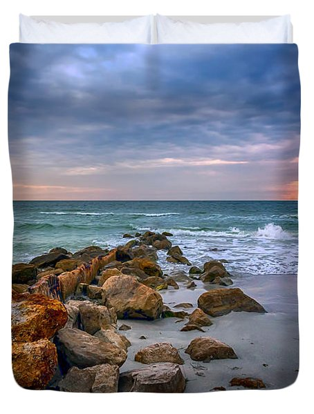 Saint Pete Beach Stormy Sunset Duvet Cover