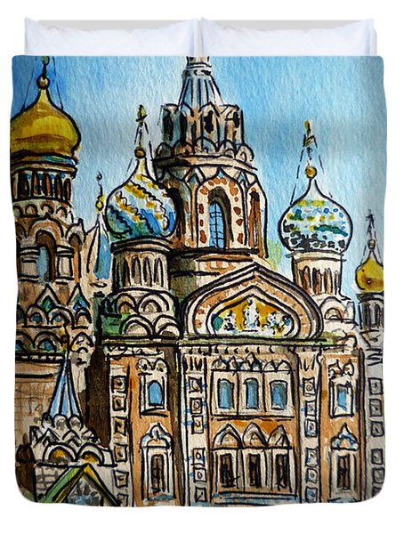 Saint Petersburg Russia The Church Of Our Savior On The Spilled Blood Duvet Cover