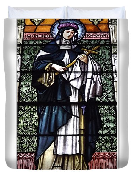 Saint Rose Of Lima Stained Glass Window Duvet Cover