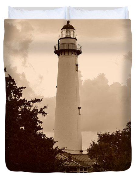 Duvet Cover featuring the photograph Saint Simons Lighthouse In Sepia by Bob Sample