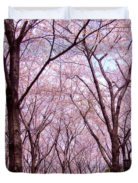 Duvet Cover featuring the photograph Sakura Tree by Andrea Anderegg