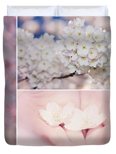 Sakura Triptych Duvet Cover by Lisa Knechtel