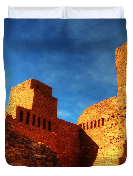 Salinas Pueblo Abo Mission Golden Light Duvet Cover by Bob Christopher