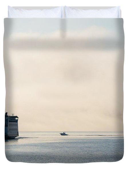 Salish Into The Fog Duvet Cover by Mike  Dawson