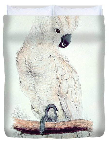 Salmon Crested Cockatoo Duvet Cover by Edward Lear