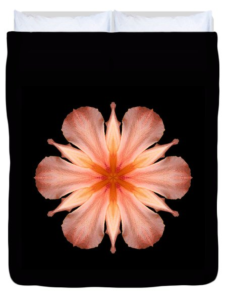 Salmon Daylily I Flower Mandala Duvet Cover by David J Bookbinder