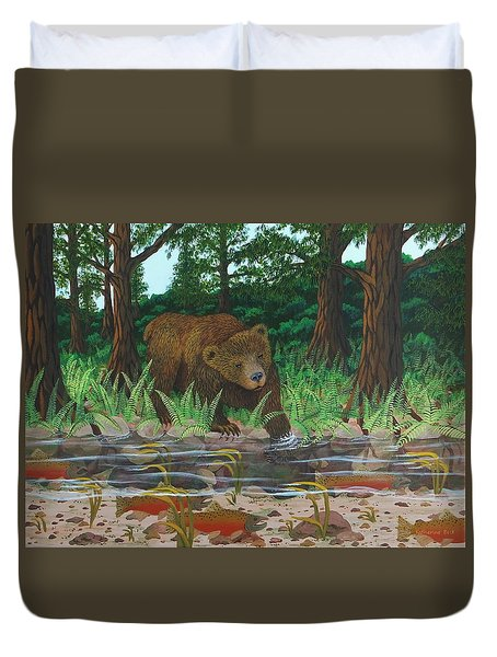 Salmon Fishing Duvet Cover by Katherine Young-Beck