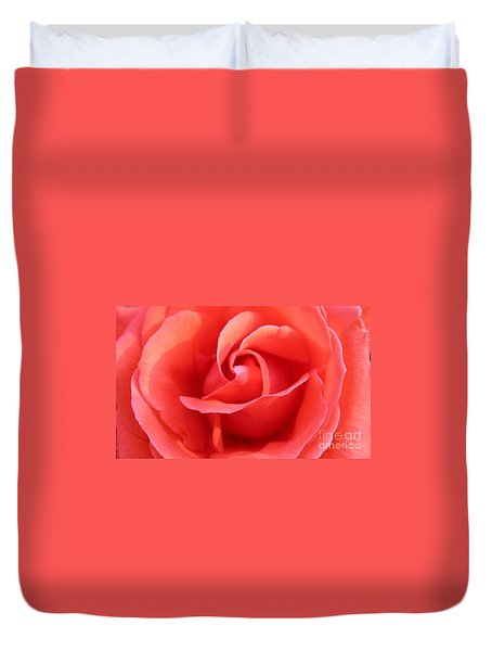 Salmon Floral Rose Abstract Duvet Cover