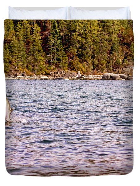 Salmon Jumping In The Ocean Duvet Cover by Peggy Collins