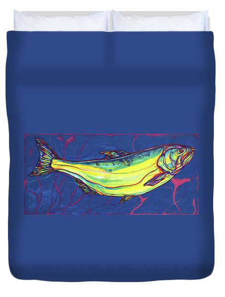 Salmon Of Knowledge Duvet Cover by Derrick Higgins