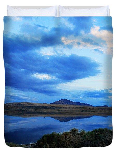 Duvet Cover featuring the photograph Salt Lake Antelope Island by Matt Harang