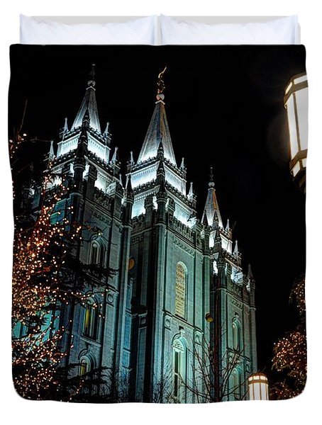 Salt Lake City Mormon Temple Christmas Lights Duvet Cover