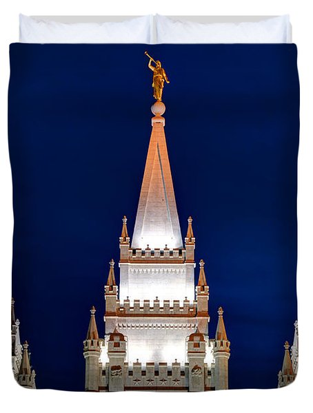 Salt Lake Lds Mormon Temple At Night Duvet Cover by Gary Whitton