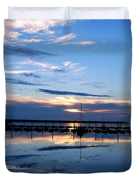 Salt Lake Marina Sunset Duvet Cover by Matt Harang