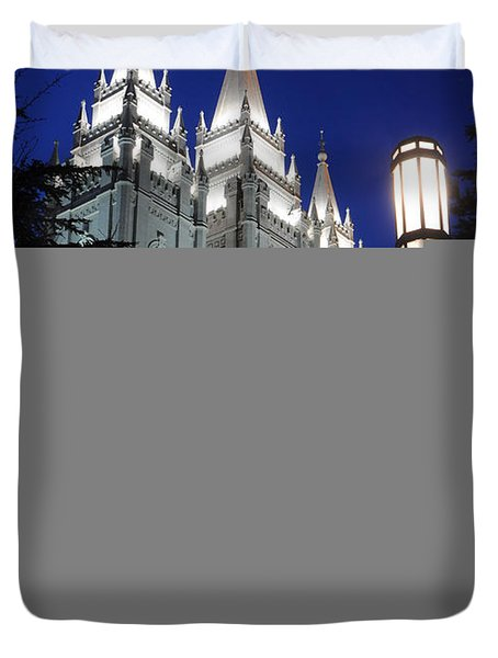 Salt Lake Mormon Temple At Night Duvet Cover by Gary Whitton