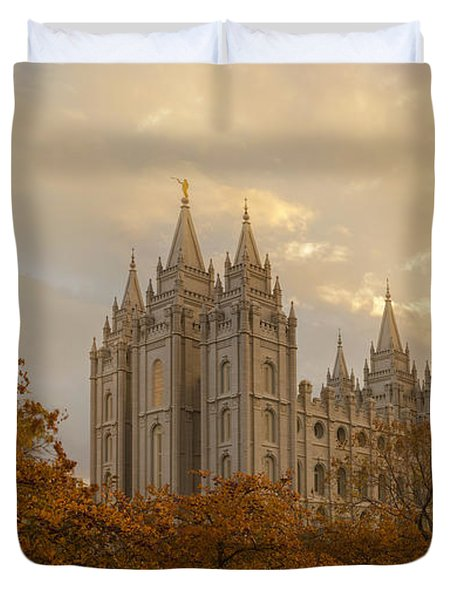 Duvet Cover featuring the photograph Salt Lake Temple Ultra High Resolution by Dustin  LeFevre