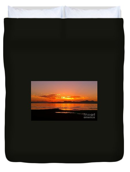 Salt Lakes A Fire Duvet Cover by Chris Tarpening