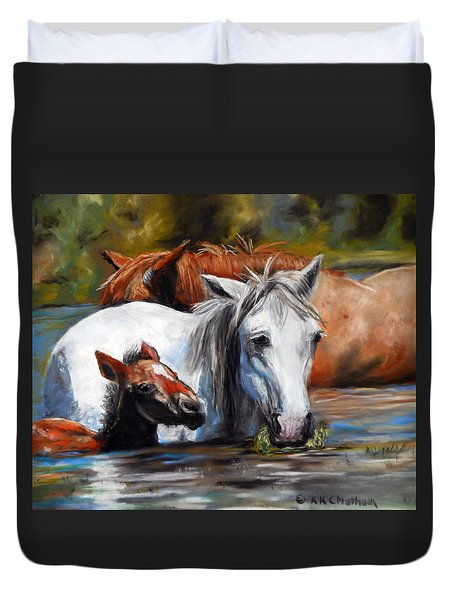 Duvet Cover featuring the pastel Salt River Foal by Karen Kennedy Chatham