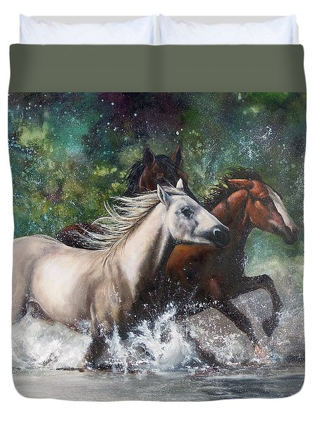 Duvet Cover featuring the painting Salt River Horseplay by Karen Kennedy Chatham
